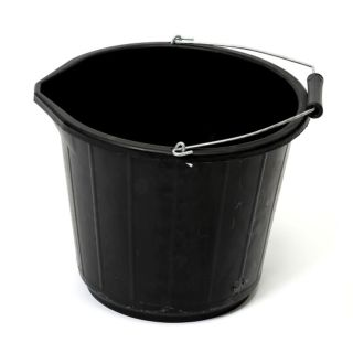 HEAVY DUTY BLACK PLASTIC BUCKET 15 LTR