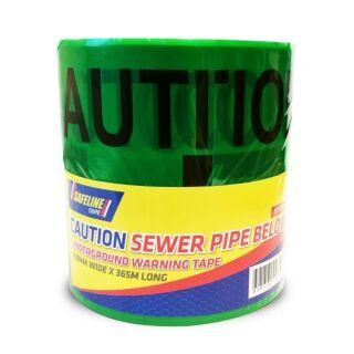 SAFELINE CAUTION SEWER PIPE BELOW GREEN WARNING TAPE