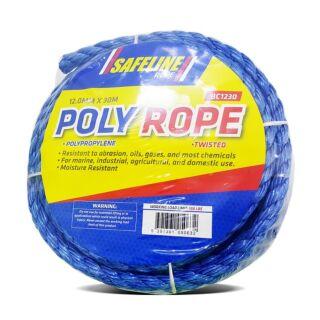 SAFELINE 12MM POLYPROPYLENE BLUE ROPE 30M