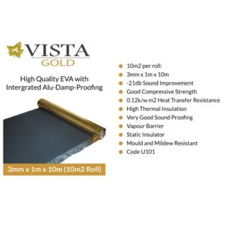 VISTA GOLD UNDERLAY 3MM 10 SQM ROLL