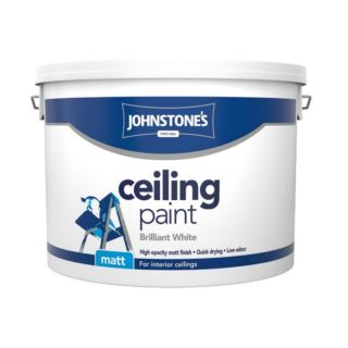 JOHNSTONES RETAIL CEILING PAINT BRILLIANT WHITE - 10LTR