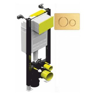 FASTFIX HIGH FRAME FOR WALL HUNG TOILET - GOLD DUAL FLUSH